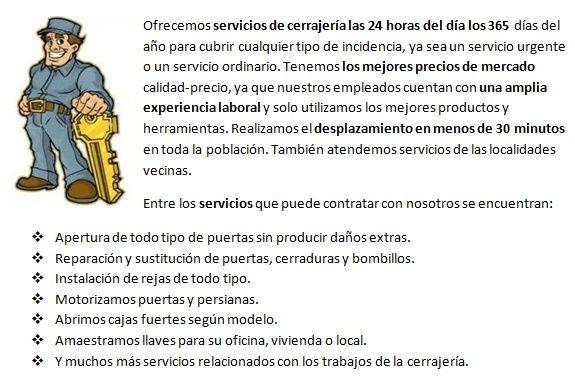 Servicios cerrajeros Teror 24h urgencias